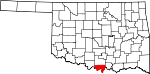 Map of Oklahoma showing Love County
