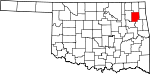 Map of Oklahoma showing Mayes County