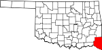 Map of Oklahoma showing McCurtain County