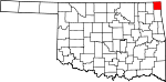 Map of Oklahoma showing Ottawa County