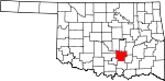 Map of Oklahoma showing Pontotoc County