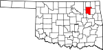 Map of Oklahoma showing Rogers County