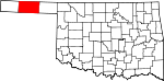 Map of Oklahoma showing Texas County
