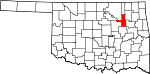 Map of Oklahoma showing Tulsa County