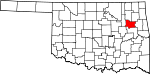 Map of Oklahoma showing Wagoner County