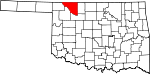 Map of Oklahoma showing Woods County