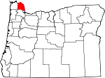 Map of Oregon showing Columbia County