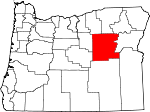 Map of Oregon showing Grant County