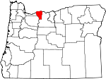 Map of Oregon showing Hood River County