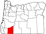 Map of Oregon showing Jackson County