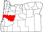 Map of Oregon showing Lane County