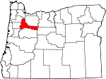 Map of Oregon showing Marion County