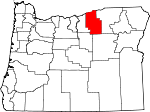 Map of Oregon showing Morrow County