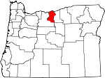 Map of Oregon showing Sherman County