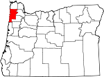Map of Oregon showing Tillamook County