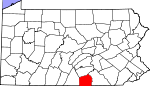 Map of Pennsylvania showing Adams County