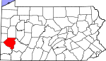 Map of Pennsylvania showing Allegheny County