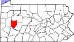 Map of Pennsylvania showing Armstrong County