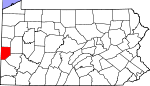 Map of Pennsylvania showing Beaver County
