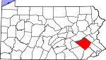 Map of Pennsylvania showing Berks County