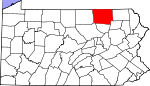 Map of Pennsylvania showing Bradford County