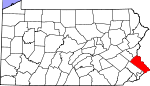 Map of Pennsylvania showing Bucks County