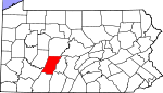 Map of Pennsylvania showing Cambria County