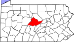 Map of Pennsylvania showing Centre County