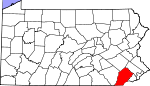 Map of Pennsylvania showing Chester County
