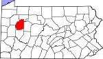Map of Pennsylvania showing Clarion County