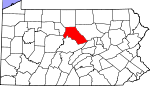 Map of Pennsylvania showing Clinton County
