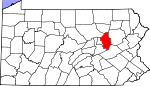 Map of Pennsylvania showing Columbia County