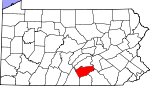 Map of Pennsylvania showing Cumberland County