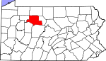 Map of Pennsylvania showing Elk County