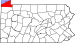 Map of Pennsylvania showing Erie County