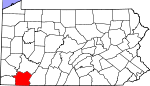 Map of Pennsylvania showing Fayette County