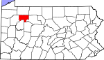 Map of Pennsylvania showing Forest County