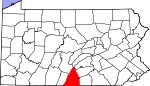 Map of Pennsylvania showing Franklin County