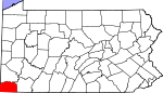 Map of Pennsylvania showing Greene County