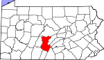 Map of Pennsylvania showing Huntingdon County
