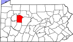 Map of Pennsylvania showing Jefferson County