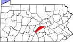 Map of Pennsylvania showing Juniata County