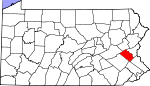 Map of Pennsylvania showing Lehigh County