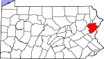 Map of Pennsylvania showing Monroe County