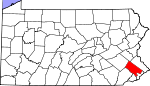 Map of Pennsylvania showing Montgomery County