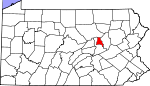 Map of Pennsylvania showing Montour County