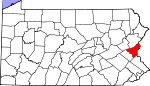 Map of Pennsylvania showing Northampton County
