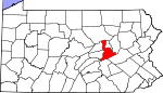 Map of Pennsylvania showing Northumberland County