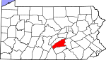 Map of Pennsylvania showing Perry County
