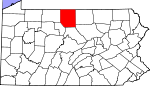 Map of Pennsylvania showing Potter County